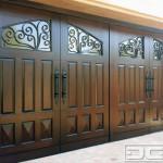 Custom Mediterranean Wood Garage Door