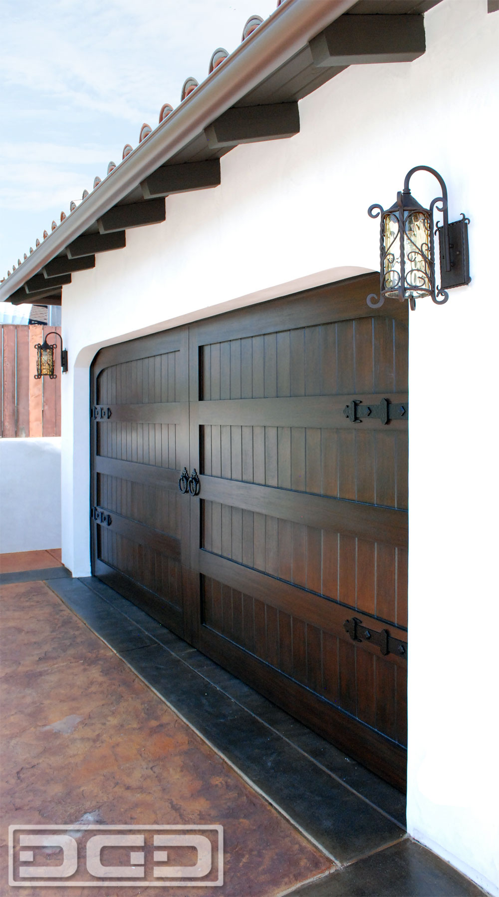Elegant Custom Architectural Spanish Garage Door In Solid Mahogany Wood With  Decorative Iron Hardware
